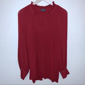 The Limited Red Pleated Chain Detail Sleeve Blouse